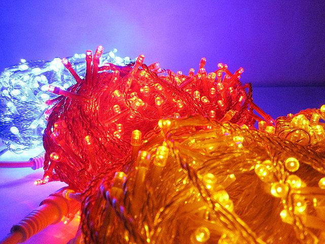 LED разноцветные уличные гирлянды 30 метров 300 led