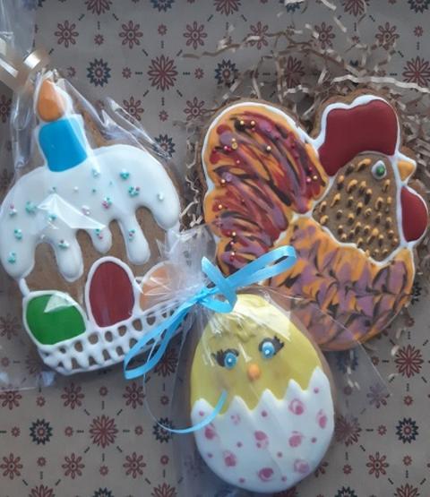 Безглютеновый подарочный набор пряников Кулич пасхальный, птенец и петушок