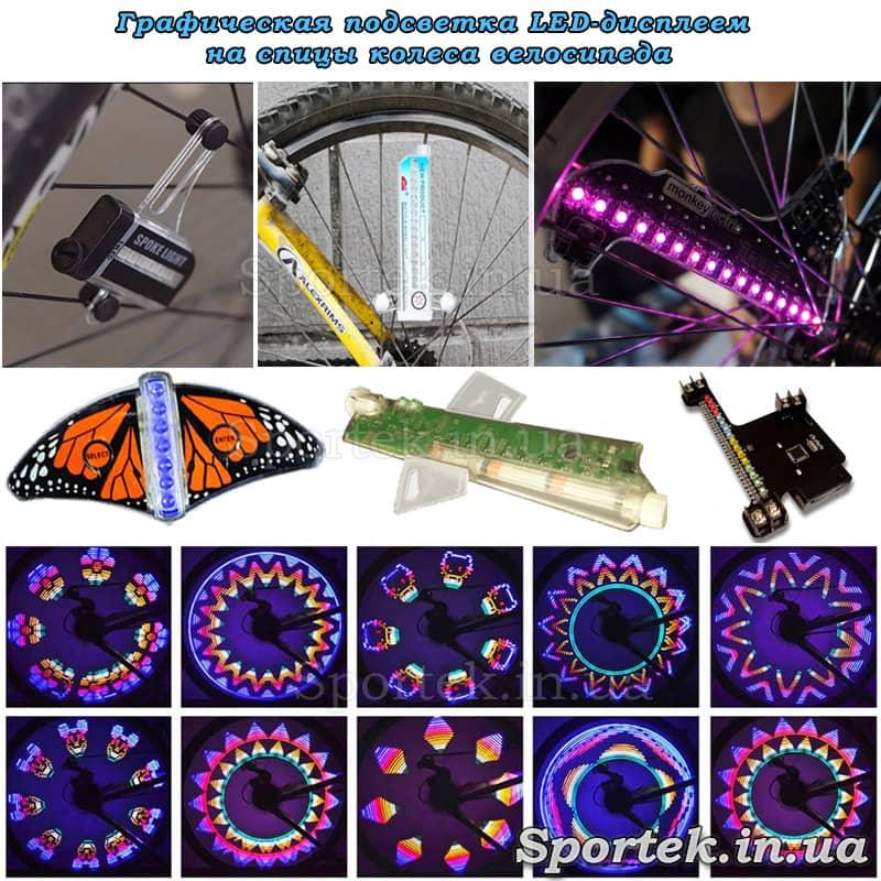 графічне підсвічування LED-дисплеєм на спицях колеса