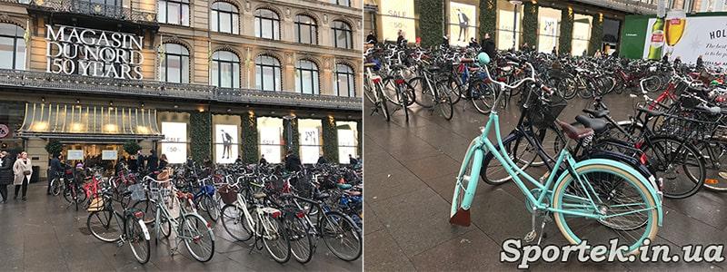 Велосипедная парковка у магазина в Копенгагене