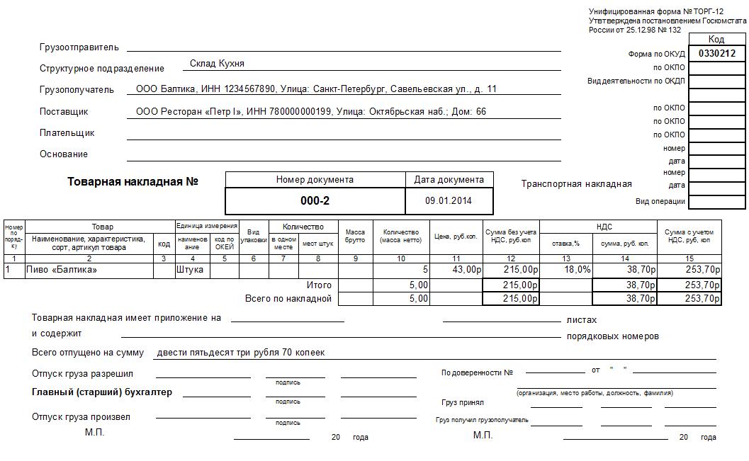 Универсальный шаблон товарной накладной