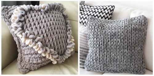 Вязаные подушки из Пуффи Ализе