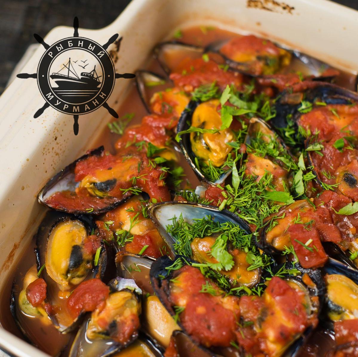 Мидии в томатно-чесночном соусе - от Рыбного Мурманна!