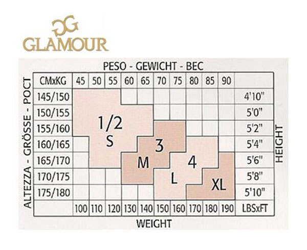 Таблица размеров женских колготок Glamour