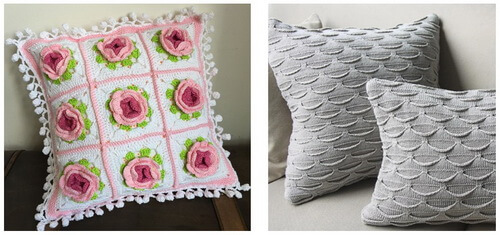 Вязаные подушки - разные техники вязания