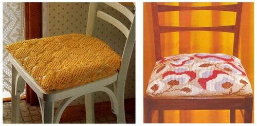 Вязаные подушки-сидушки