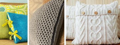 Вязаные подушки с застежками