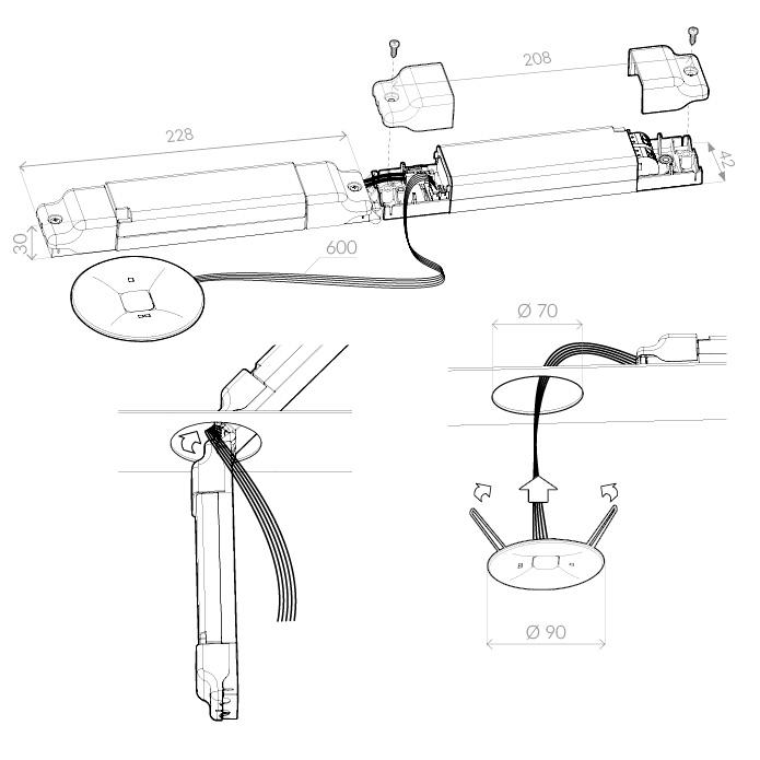 Монтаж светильника аварийного освещения путей эвакуации ONTEC C