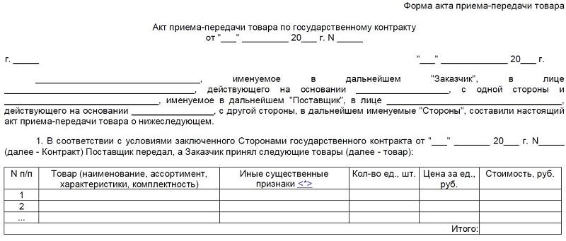 Пример формы акта приема/передачи