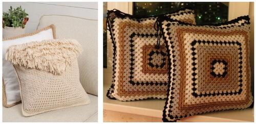 Вязаные подушки с бахромой