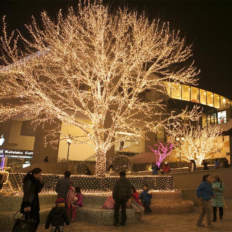led дерево из гирлянды нить 10 метров теплый белый свет