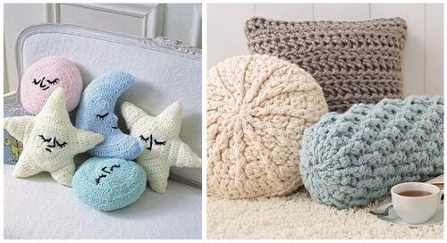 Вязаные подушки - различной формы