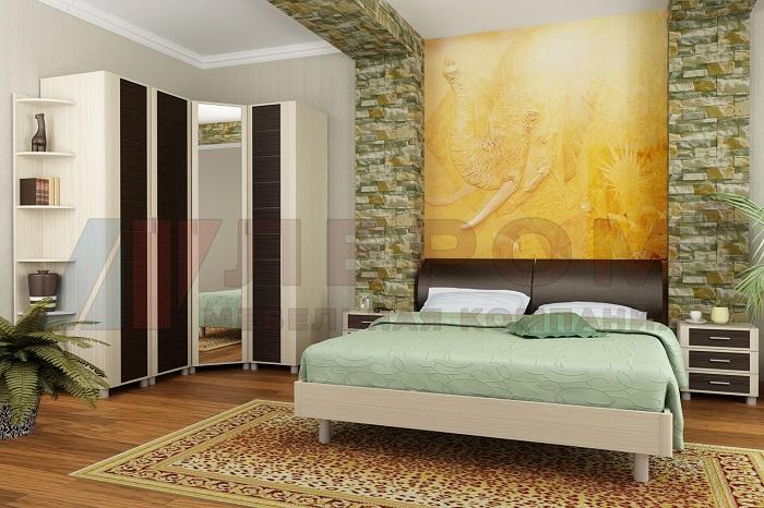 КАМЕЛИЯ Мебель для спальни в цвете Дуб Беленый комбинированный