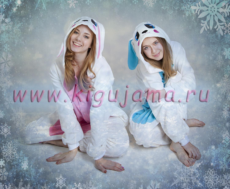 Милые пижамки в виде белых зайцов с розовым и синим брюшками