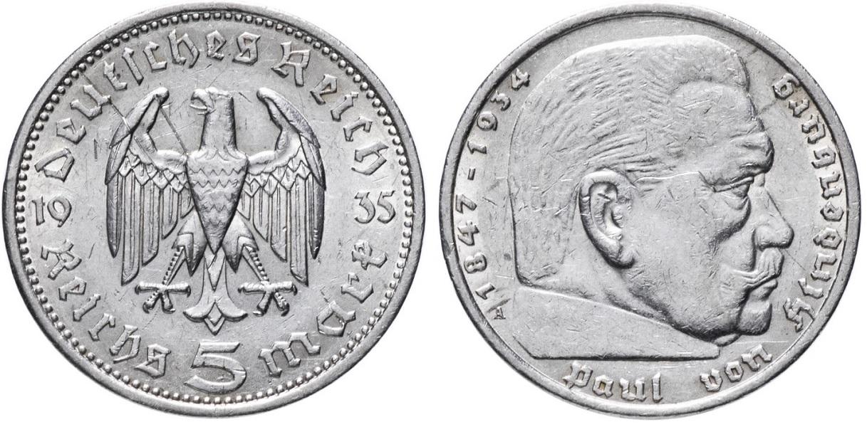 5 рейхсмарок с Гинденбургом 1935
