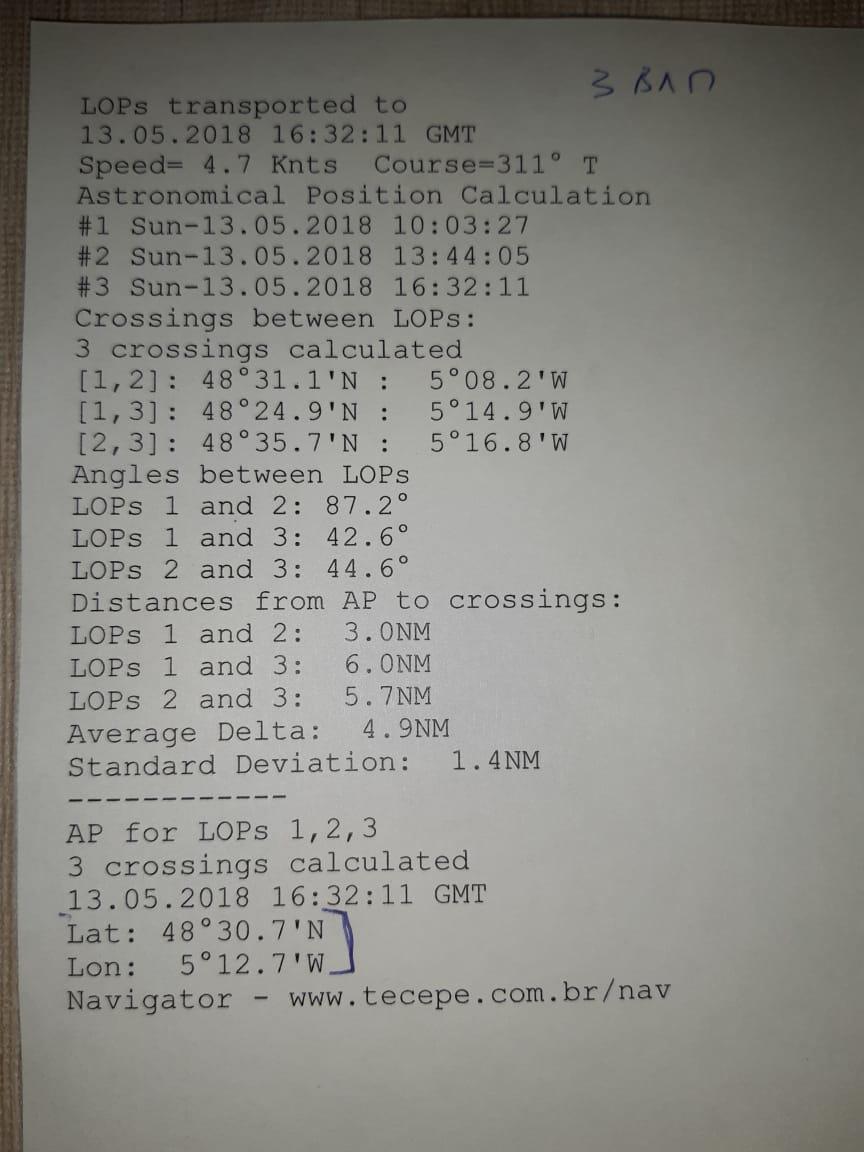 Счислимо-обсервованное место яхты на 16:32:11 13.05.2018 г. по 3 ВЛП