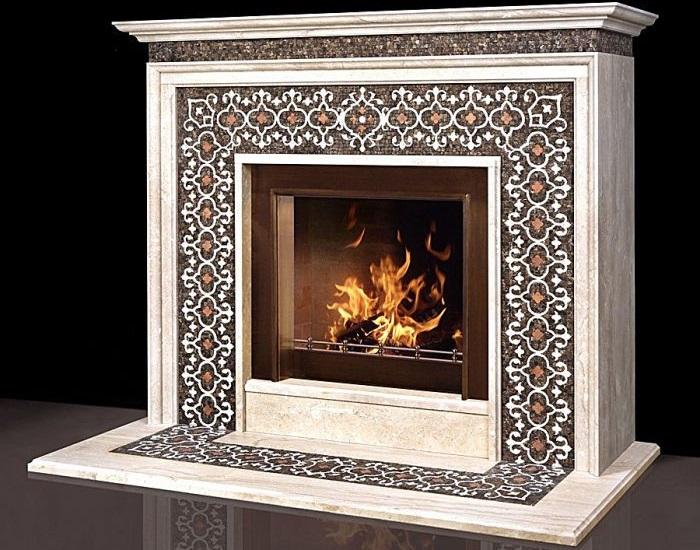 натуральная каменная мозаика камина Москва
