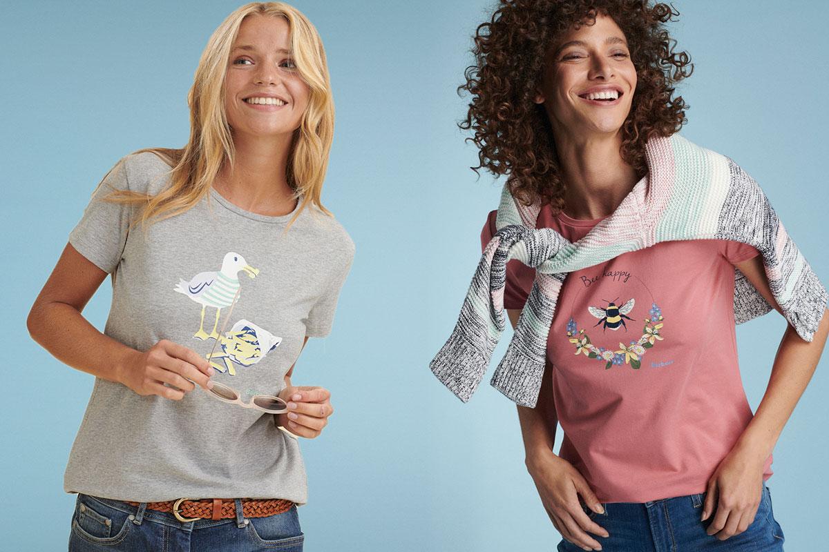 Женские футболки Barbour с принтами