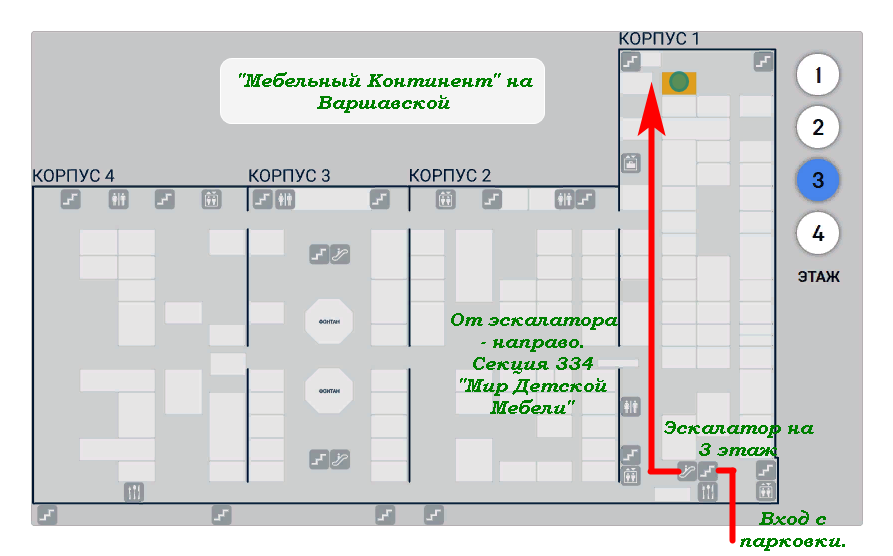 Схема Мебельный Континент на Варшавской
