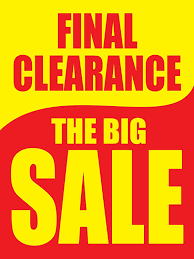 """Amazon.com : Final Clearance The Big Sale Yellow & Red Retail Display Sign,  18""""w x 24""""h, 5 Pack : Office Products"""