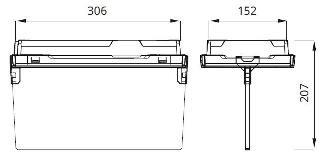 Размеры аварийного светодиодного светильника выход EXIT L с эвакуационным табло