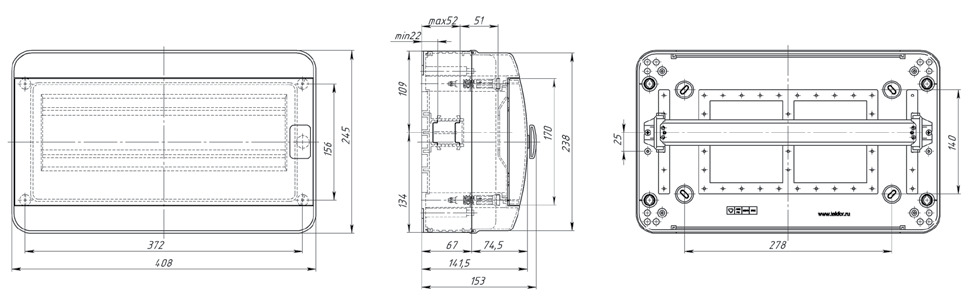 Габаритные размеры Текфор Навесной щит IP65 18 мод