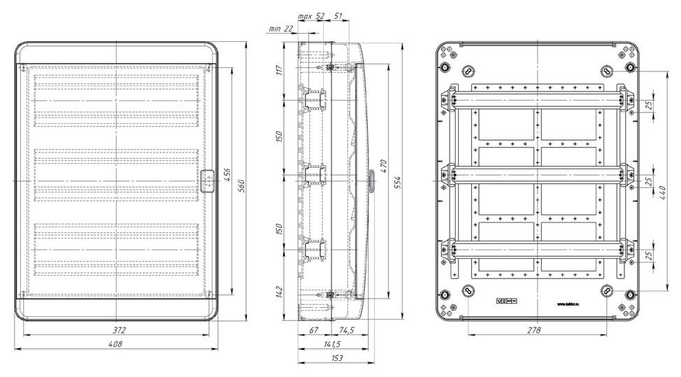 Габаритные размеры Текфор Навесной щит IP65 54 мод
