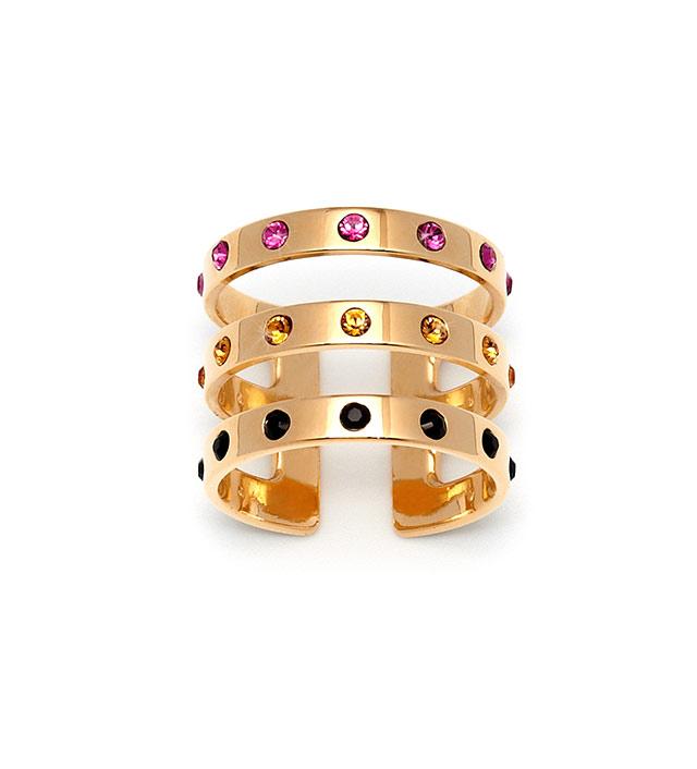Тройное кольцо с разноцветными кристаллами Swarovski от MFP