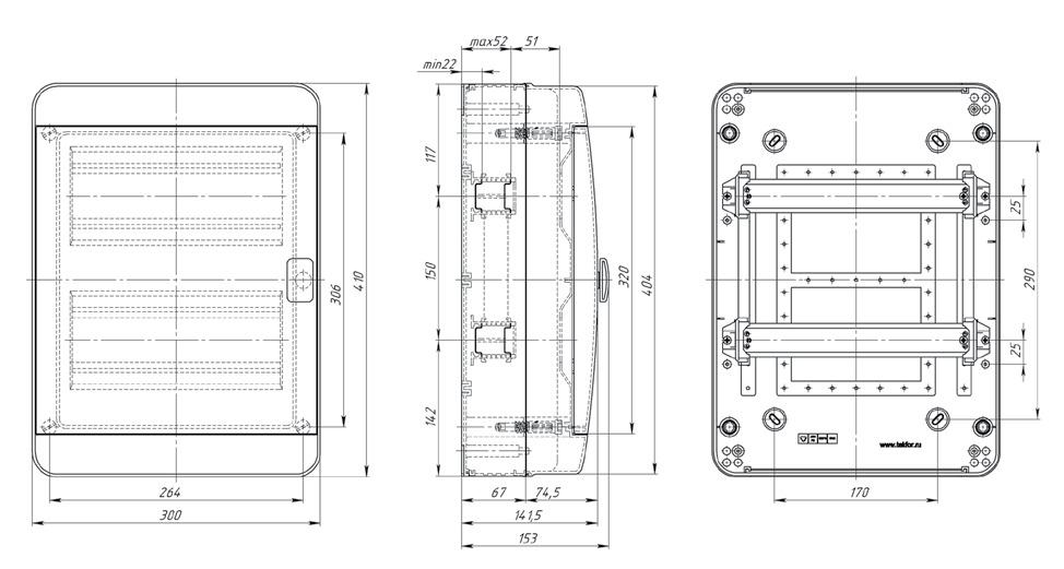 Габаритные размеры Текфор Навесной щит IP65 24 мод