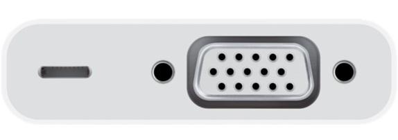 Оригинальный VGA-адаптер Apple Lightning to VGA Adapter MD825ZM/A передачи изображения с iPhone, iPad и iPod оснащенных разъёмом Lightning.