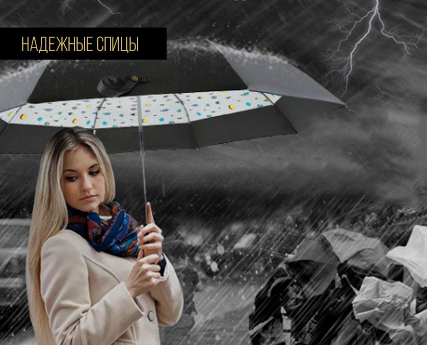 Складной черный зонт | zc quattroki design