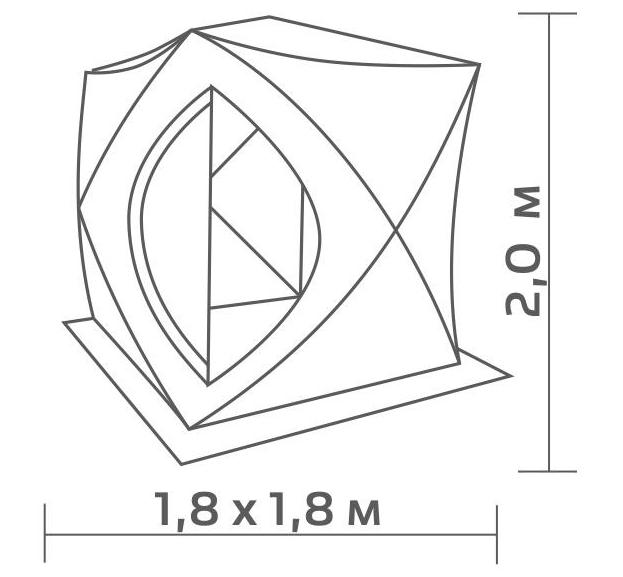 Палатка  зимняя Helios Куб 1.8х1.8, cеро-оранжевая, однослойная