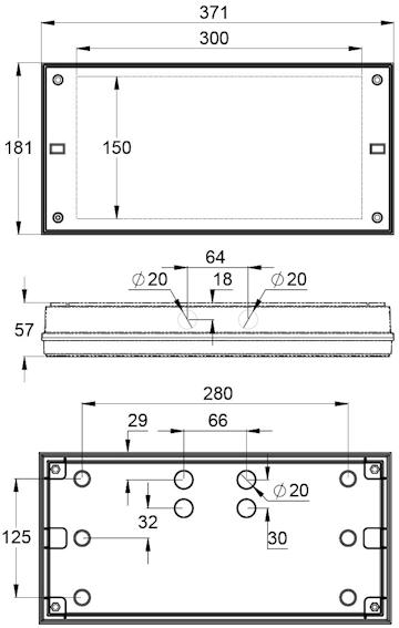 Чертеж светильника эвакуационного и антипанического аварийного освещения серии SOLID Zone LOWBAY