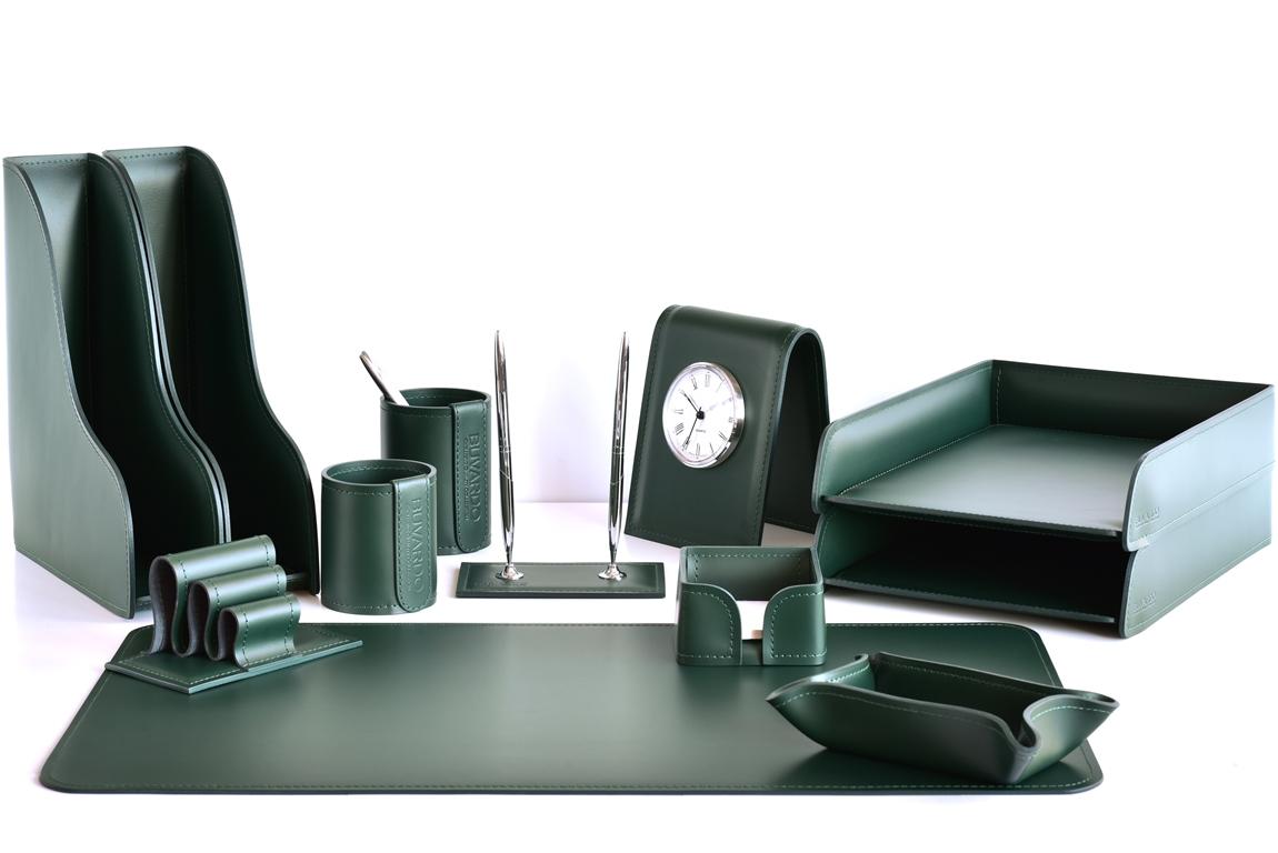 зеленый кожаный набор в кабинет директора с часами