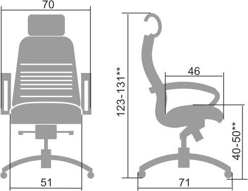 Размеры кресла Samurai KL-2.04