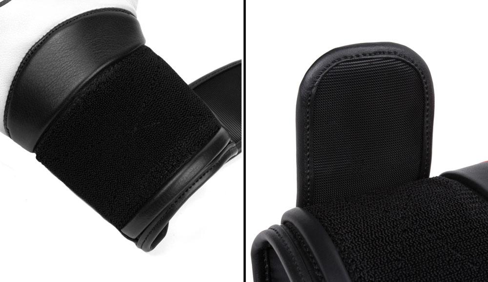 Фиксация бело-черных боксёрских перчаток Dozen Dual Impact