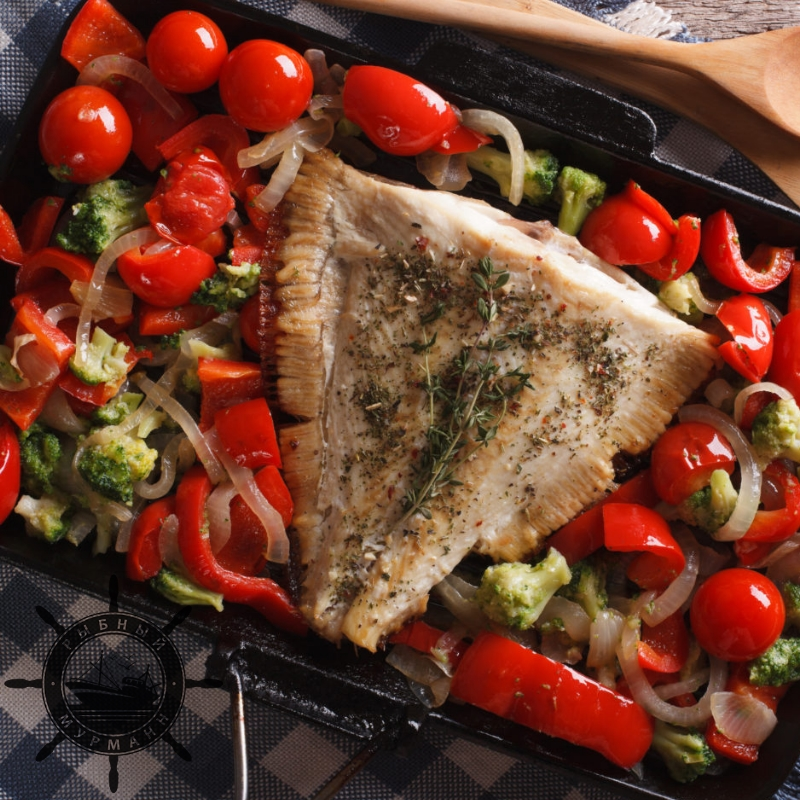 Камбала с помидорами и базиликом - от Рыбного Мурманна!