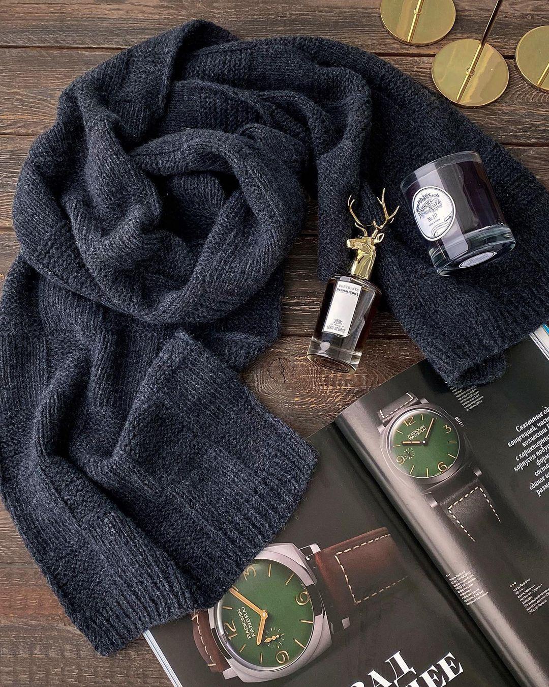 кашемировый шарф из пряжи сарлаг