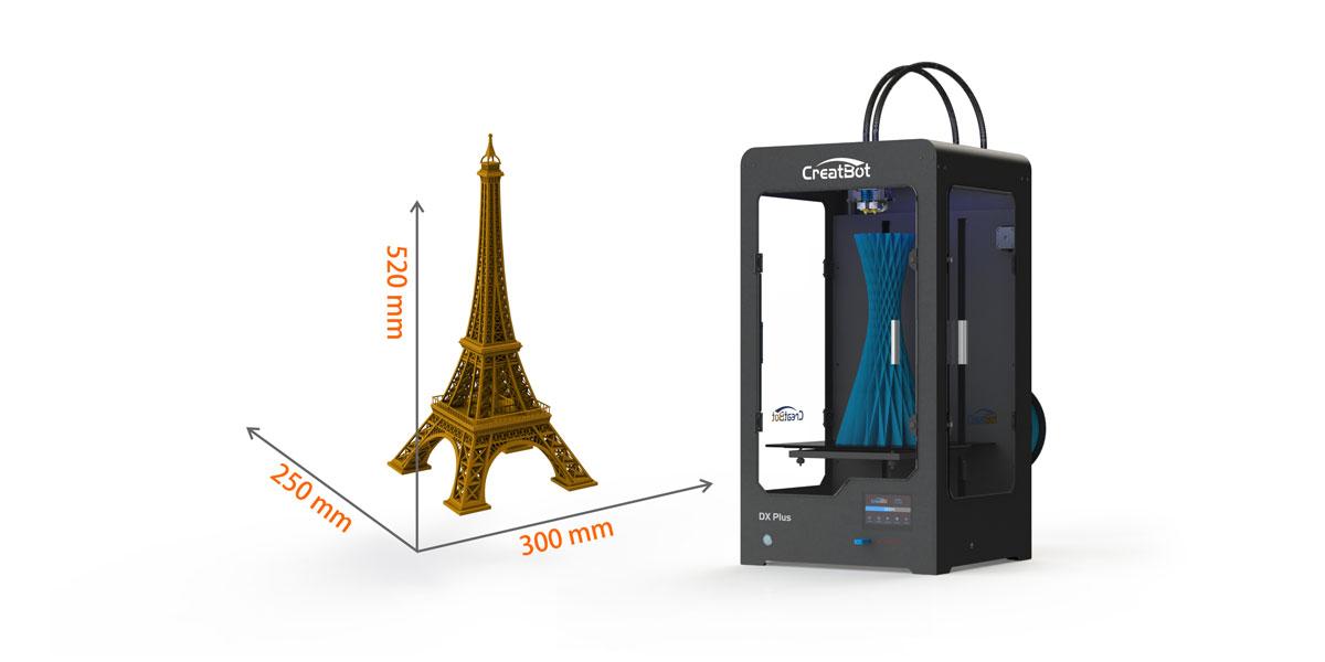 Два варианта размеров принтеров: модель DX с областью построения 300х250х300 мм, и модель DX Plus с областью построения 300х250х520 мм