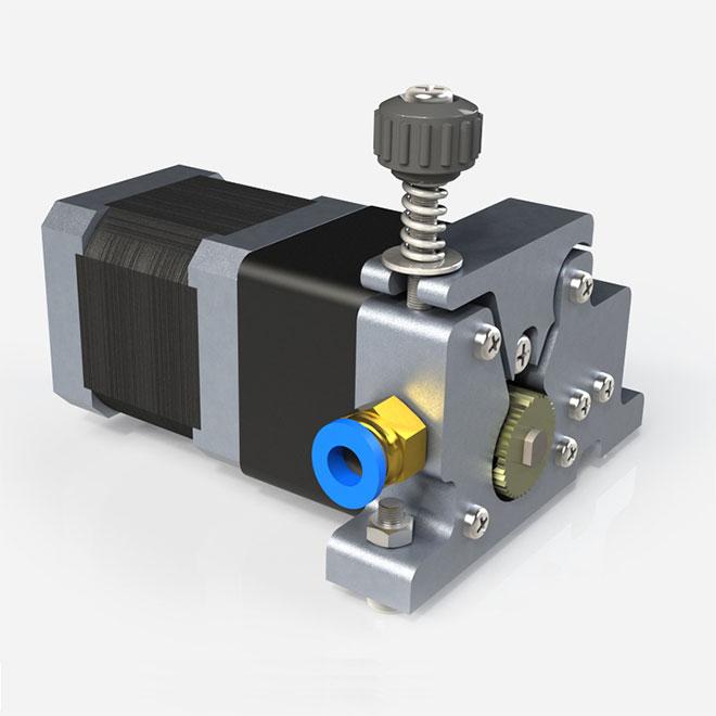 Мотор-редуктор может поддерживать крутящий момент при снижении скорости, что позволяет ему подавать нить с высокой точностью, без задержки и проскальзывания.