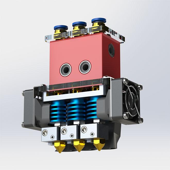 Принтер поддерживает возможность установки 3-х экструдеров.