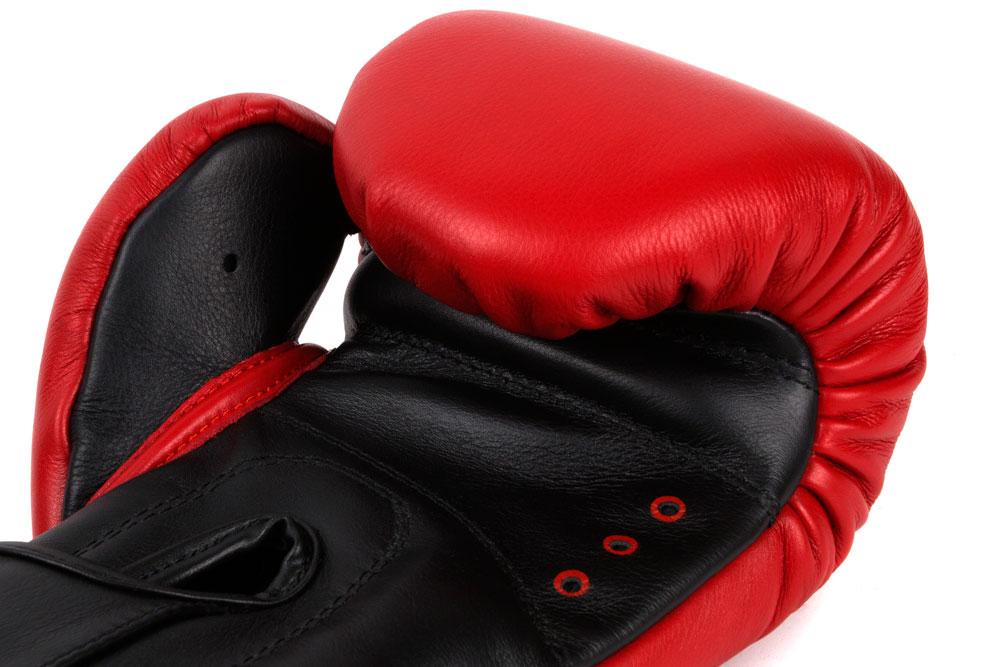 Вентиляция красно-черных боксёрских перчаток Dozen Dual Impact