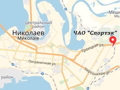 ПАО 'Спортек' на карті Миколаєва