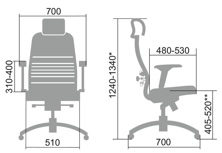 Размеры кресла Samurai TV