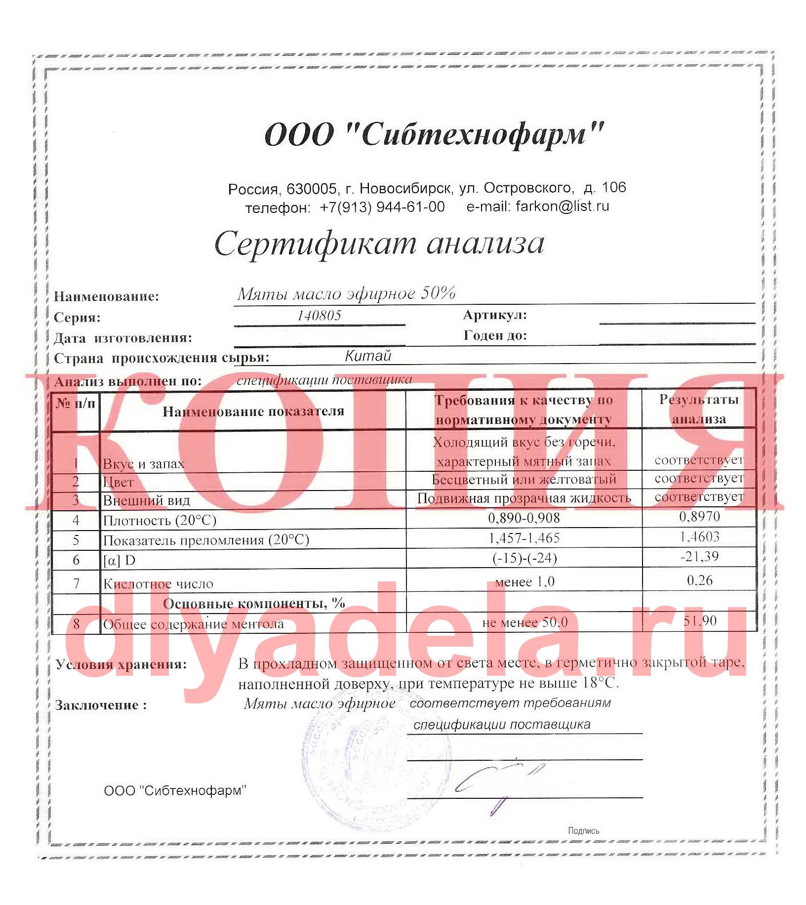 Сертификат анализа эфирного масла мяты