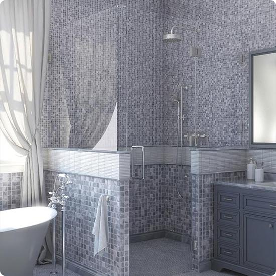 7M033-48P Bardiglio Мозаичная плитка из мрамора Natural Adriatica голубой квадрат глянцевый