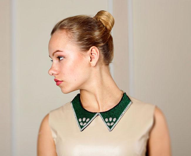 купить зеленое ожерелье-колье из бисера (колье-воротник) Papiroga