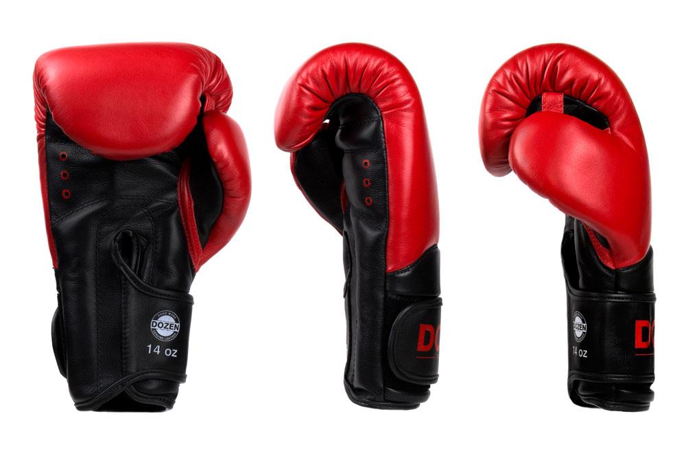 Доворот красно-черных боксёрских перчаток Dozen Dual Impact
