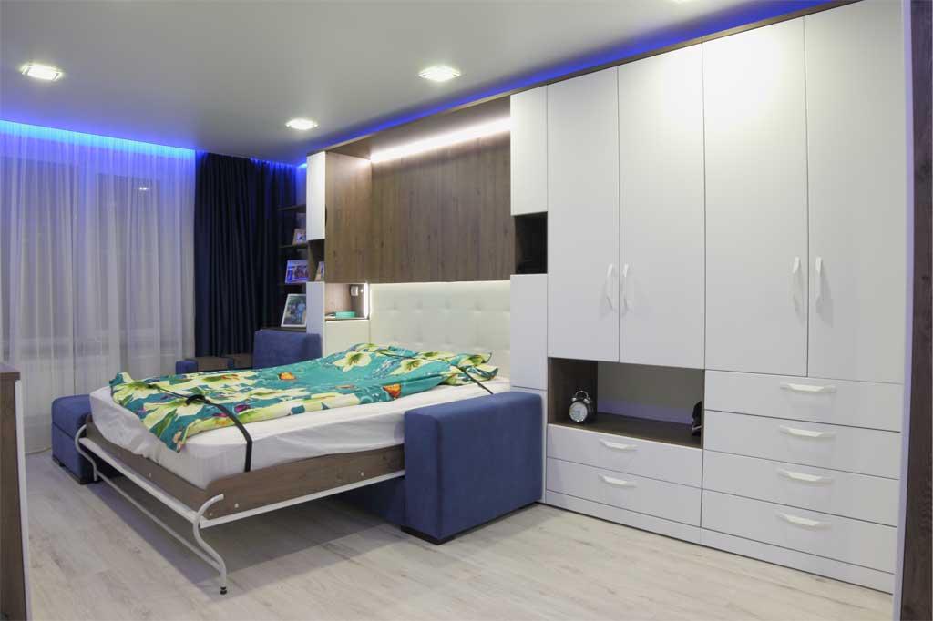 Шкаф-кровать Глория с угловым диваном