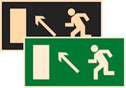 знаки фотолюминесцентные эвакуационные Е06 Направление к эвакуационному выходу налево вверх